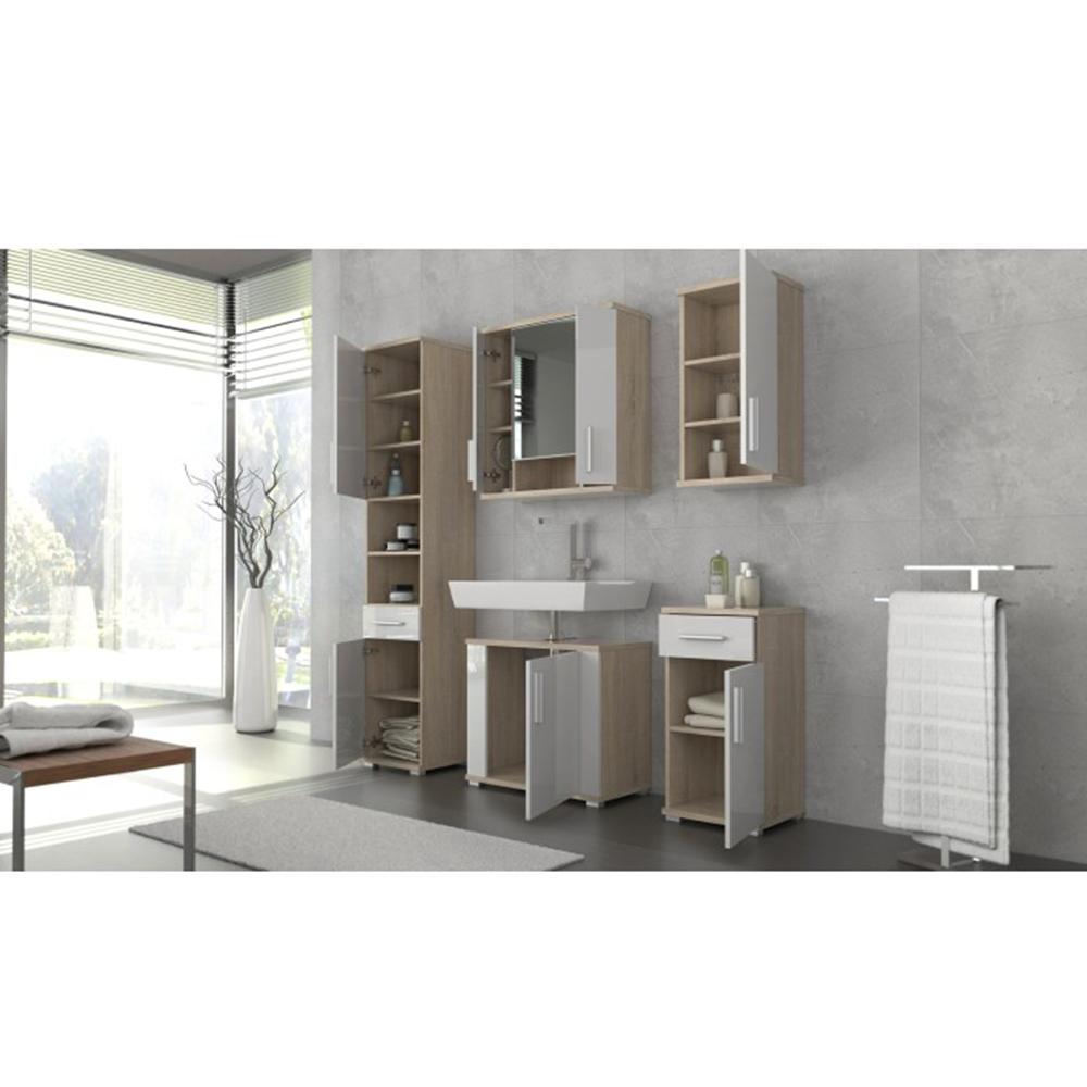 Kombinovaná kúpeľňová skrinka, biela pololesk/dub sonoma, LESSY LI 05