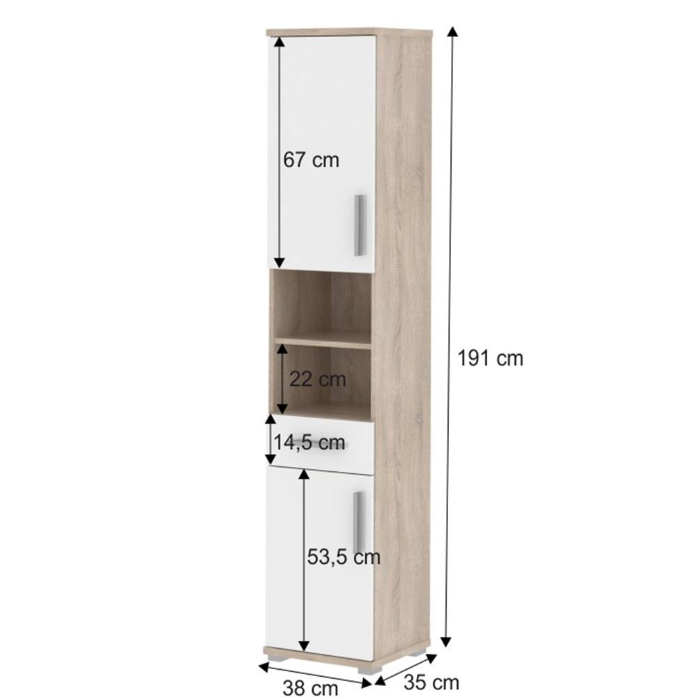 Kombinált fürdőszoba szekrén, fehyér féligfényes/  tölgyfa sonoma, LESSY LI 05