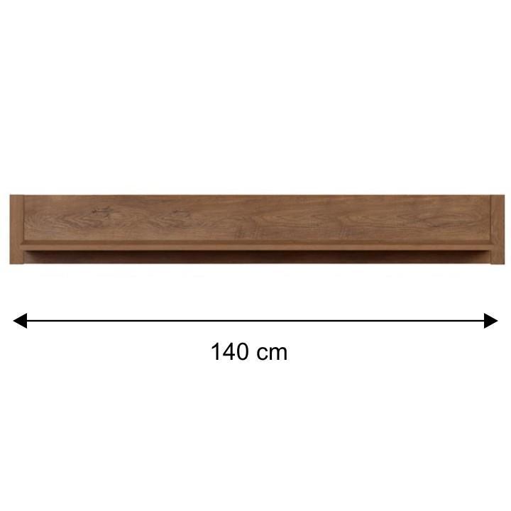 Fali polc, lefkas tölgyfa - 140 cm, MONTE 18 TÍPUS
