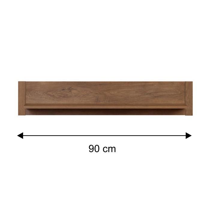 Fali polc, lefkas tölgyfa - 90 cm, MONTE 19 TÍPUS