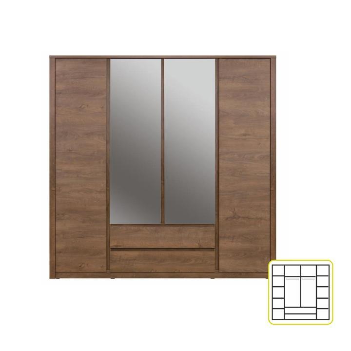 4-dverová skriňa so zrkadlom, dub lefkas, MONTE TYP 23