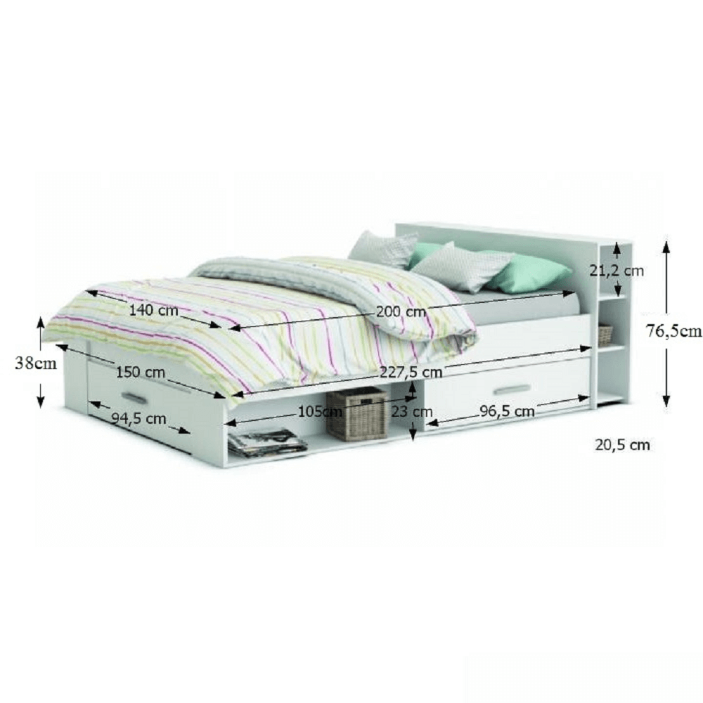 Postel, 140x200, bílá, ROKET