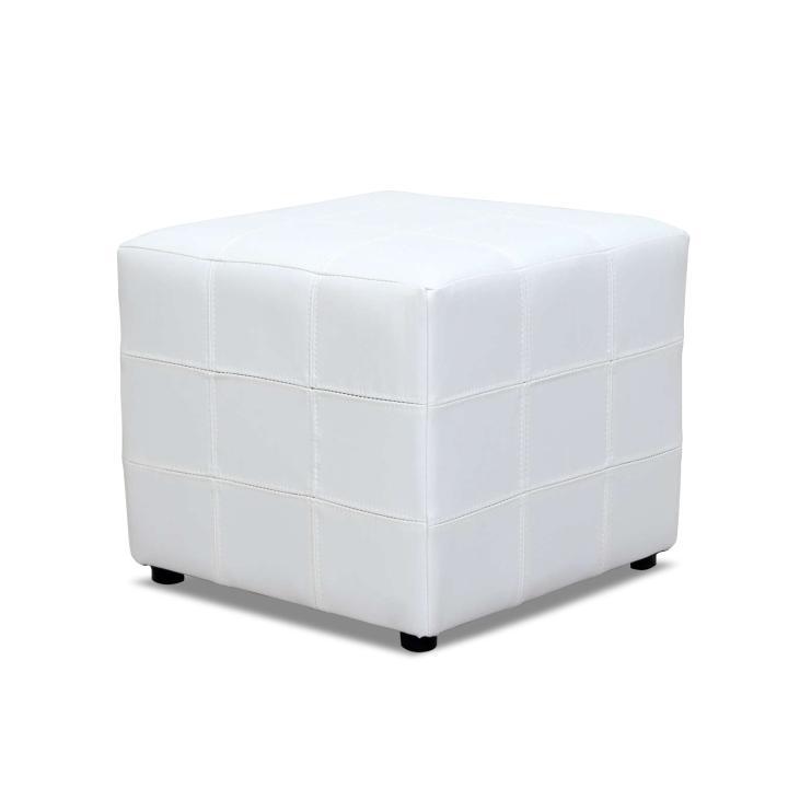 Taburet, biela textilná koža, NELA