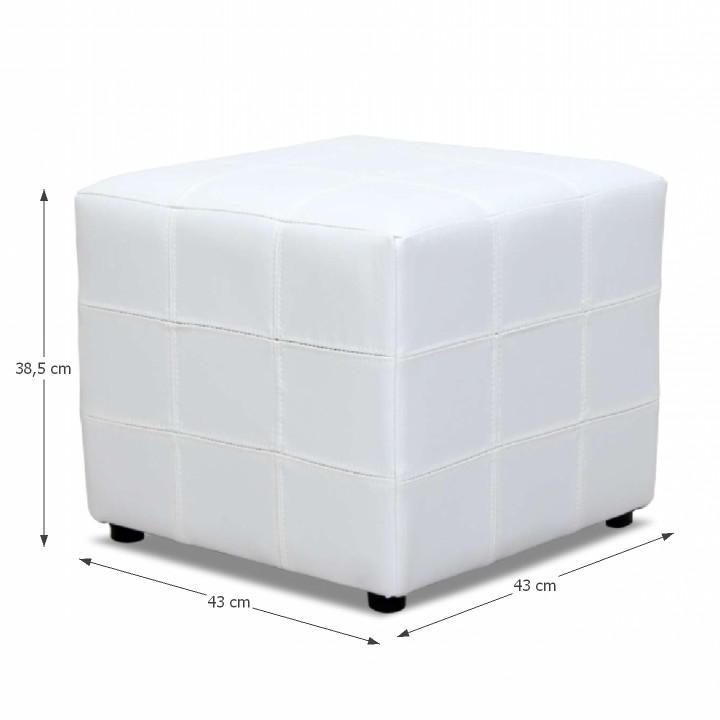 TEMPO KONDELA Taburet, biela textilná koža, NELA - Tempo nábytek