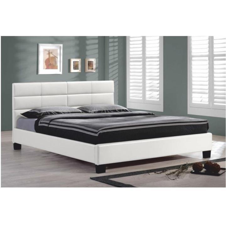 Manželská posteľ s roštom, 160x200, biela textilná koža, MIKEL