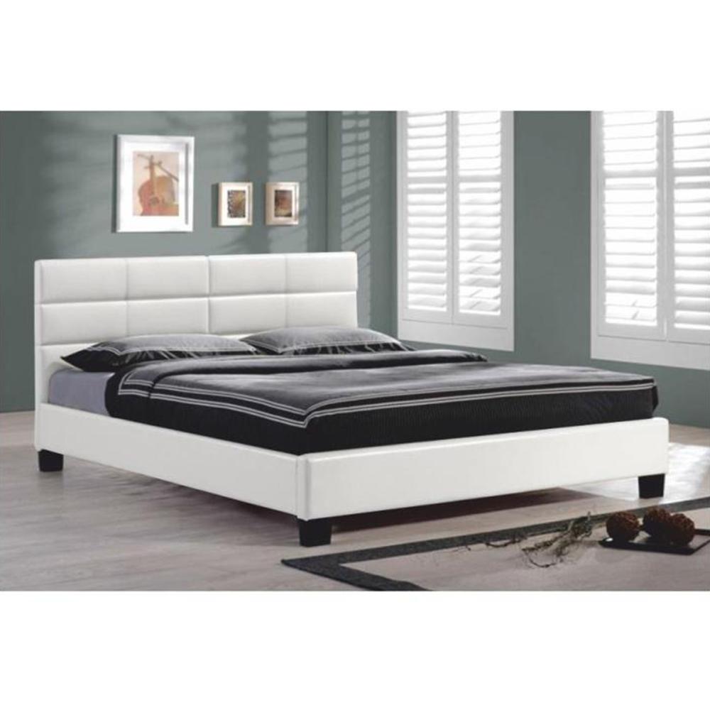 Manželská postel s roštem, 160x200, bílá ekokůže, MIKEL, TEMPO KONDELA