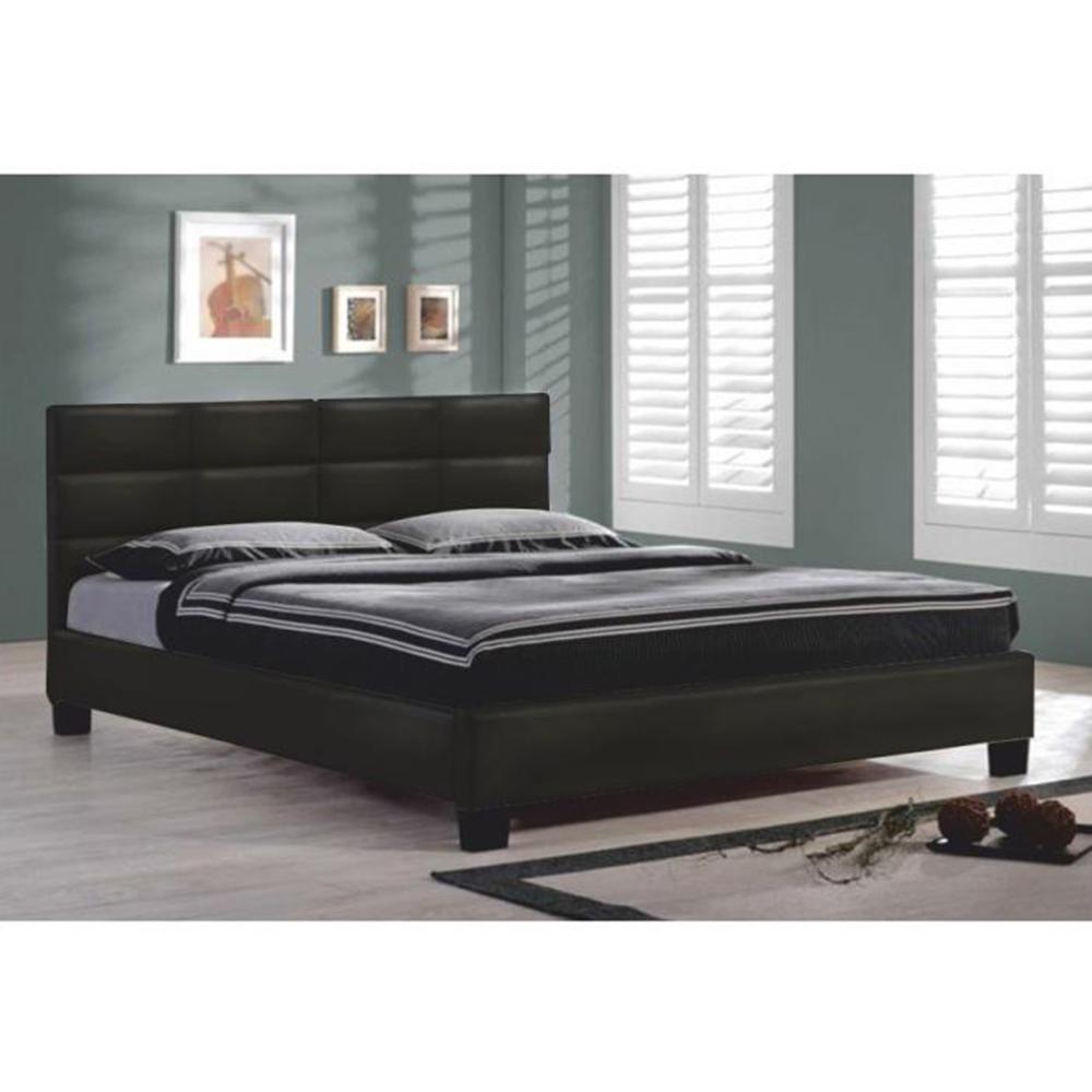 Manželská postel s roštem, 160x200, černá ekokůže, MIKEL, TEMPO KONDELA