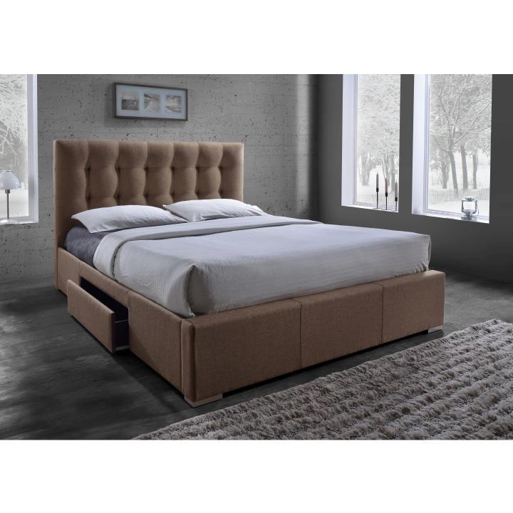 Manželská posteľ s roštom, 160x200, hnedá látka, SAMAEL, DOPREDAJ