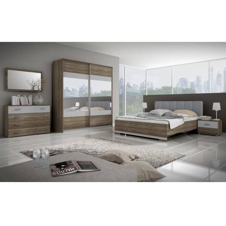 Hálószoba bútor komplett trufla sonoma tölgyfa/szürke, MADISON NEW