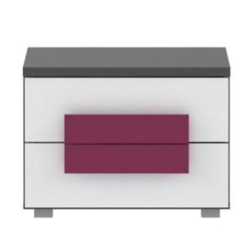 Noční stolek, šedá/bílá/fialová, LOBETE 02