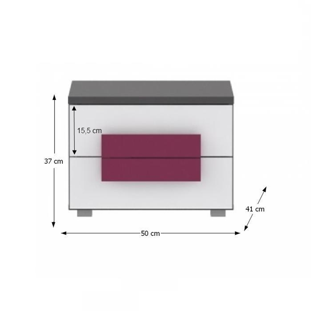Noční stolek, šedá/bílá/fialová, LOBETE 02, TEMPO KONDELA