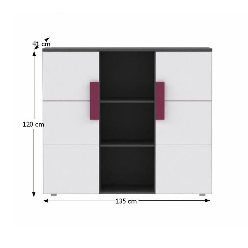 Kombinált fiókos komód, szürke / fehér / lila, LOBETE 43