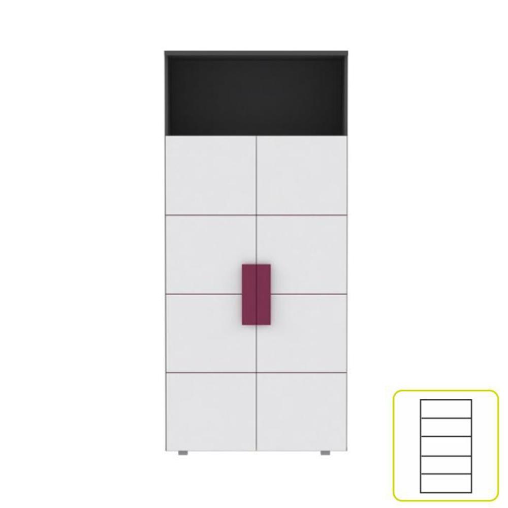 Polcos szekrény, szürke / fehér / lila, LOBETE R82