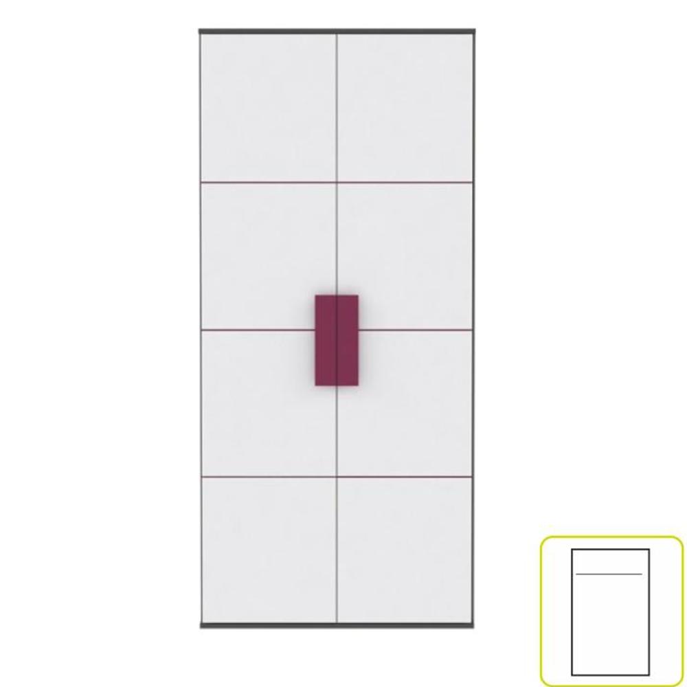 Dulap șifonier, gri/alb/mov, LOBETE S82