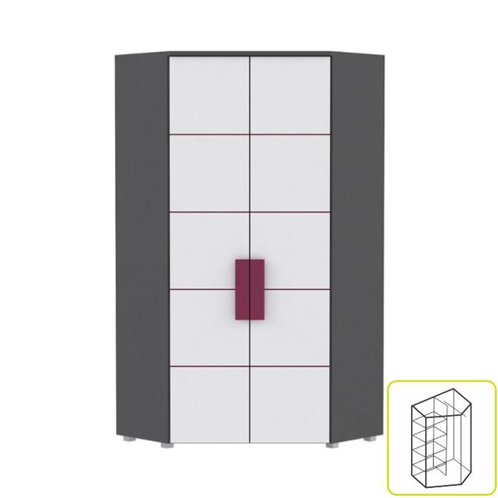 Dulap de colț combinat, gri/alb/mov, LOBETE 89