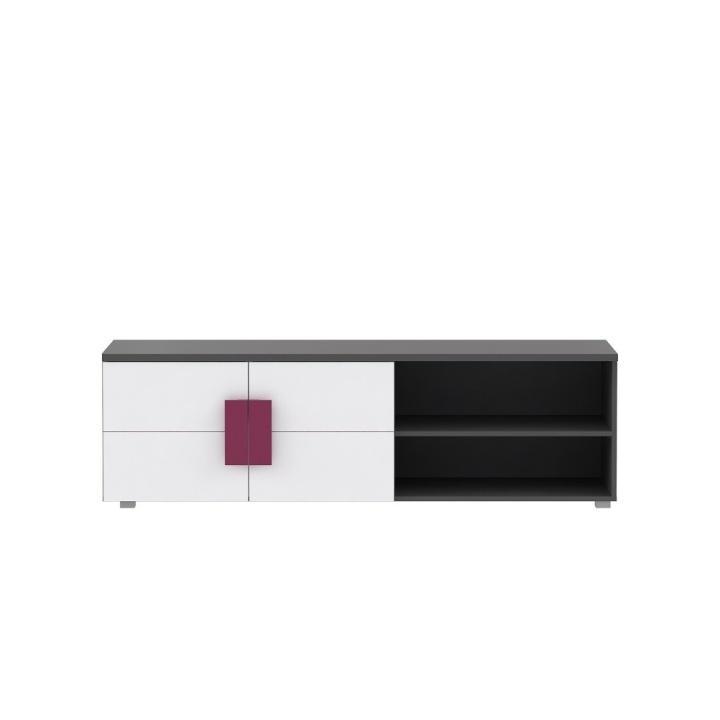 TV asztal/szekrény, szürke/fehér/ibolyakék, LOBETE 12