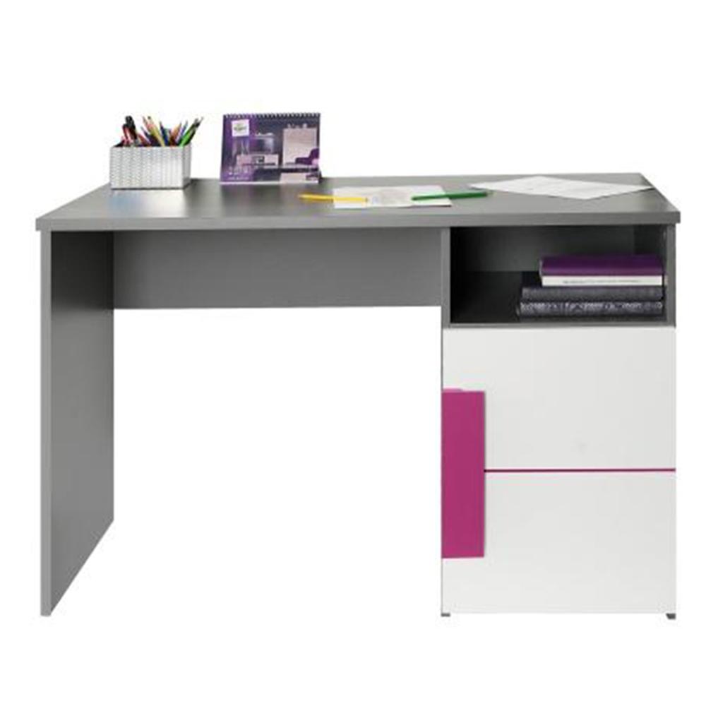 PC stůl, šedá / bílá / fialová, LOBETE 21, TEMPO KONDELA