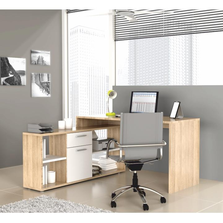 PC stôl MT959 Q36, dub sonoma/biela, NOE