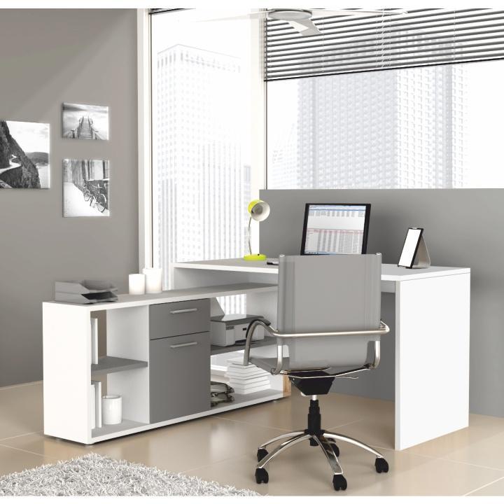 PC stôl MT959 T16, biela/sivá, NOE