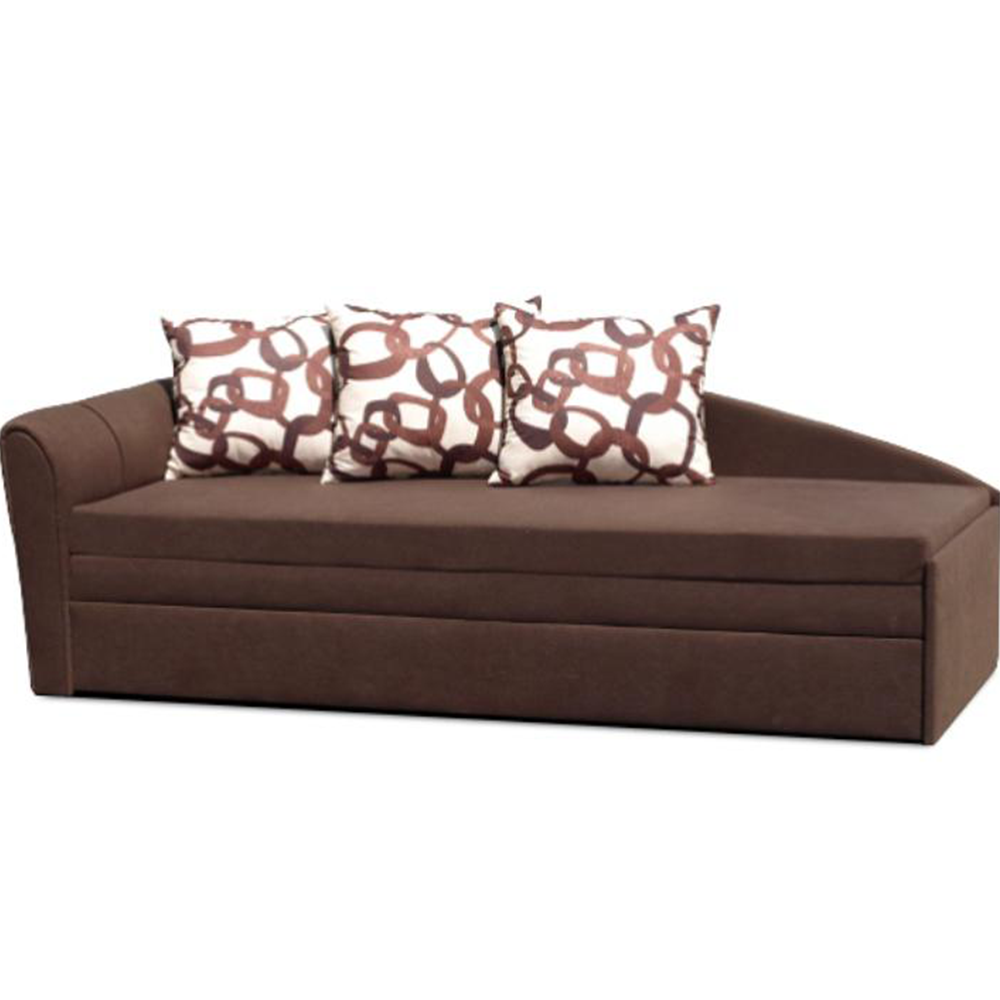 Széthúzható kanapé, barna, bal, szövet Alova, LAOS