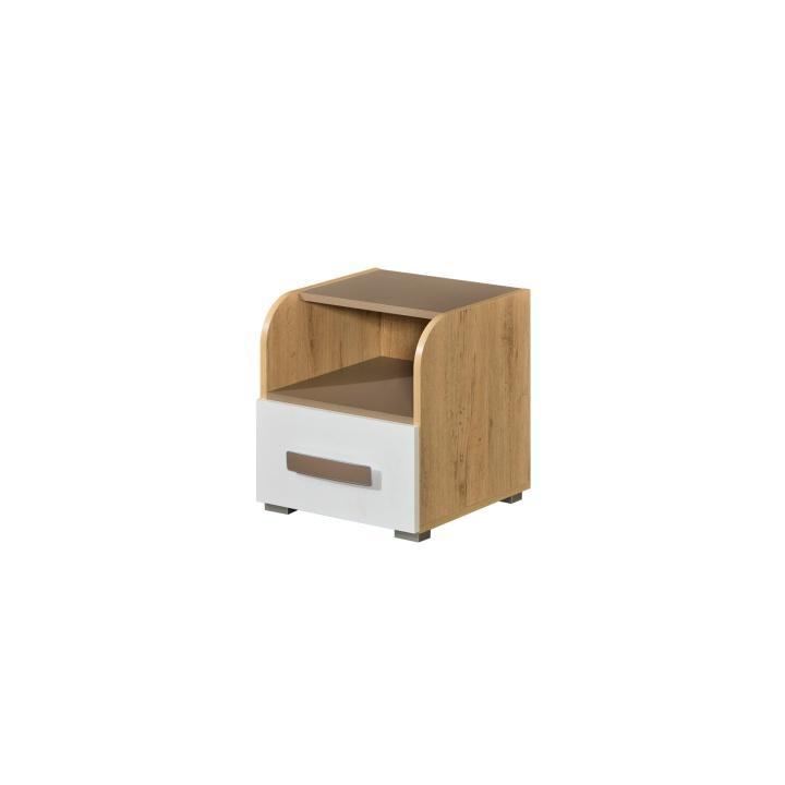 Nočný stolík, jednozásuvkový, san reno/biela/capucino, KATAR K13