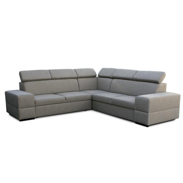 Rohová rozkladacia sedacia súprava s úložným priestorom, ľavé prevedenie, látka cappucino, MONAKO