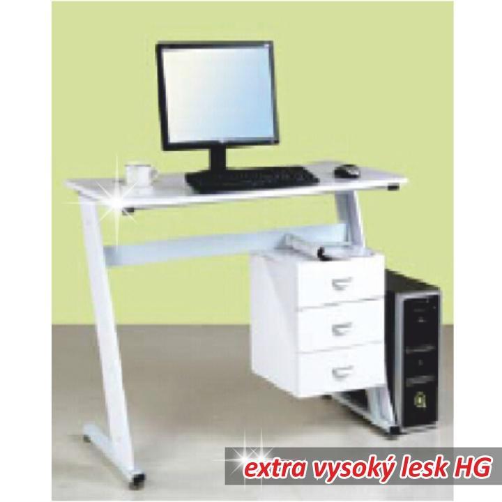 PC stôl, biela extra vysoký lesk HG, RUBUS, Dopredaj