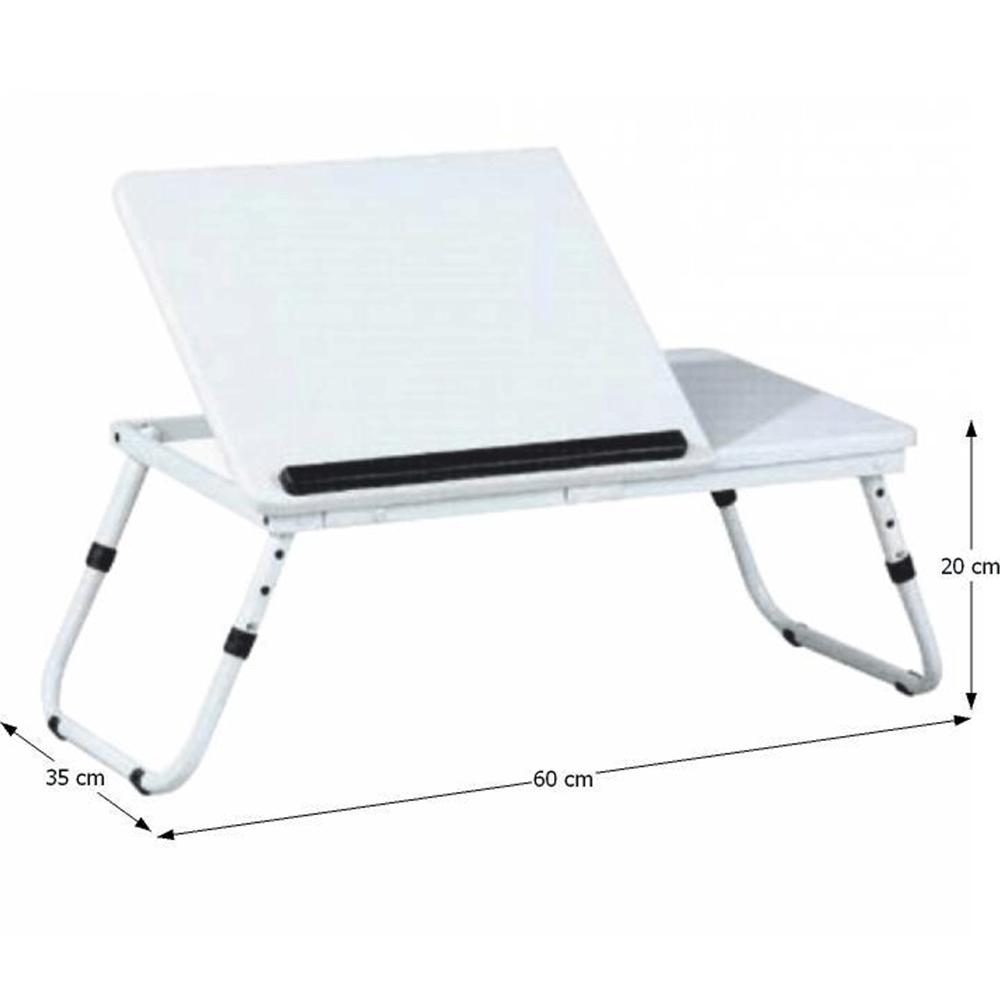 Stolek na notebook/držák na tablet, bílá, EVALD, TEMPO KONDELA