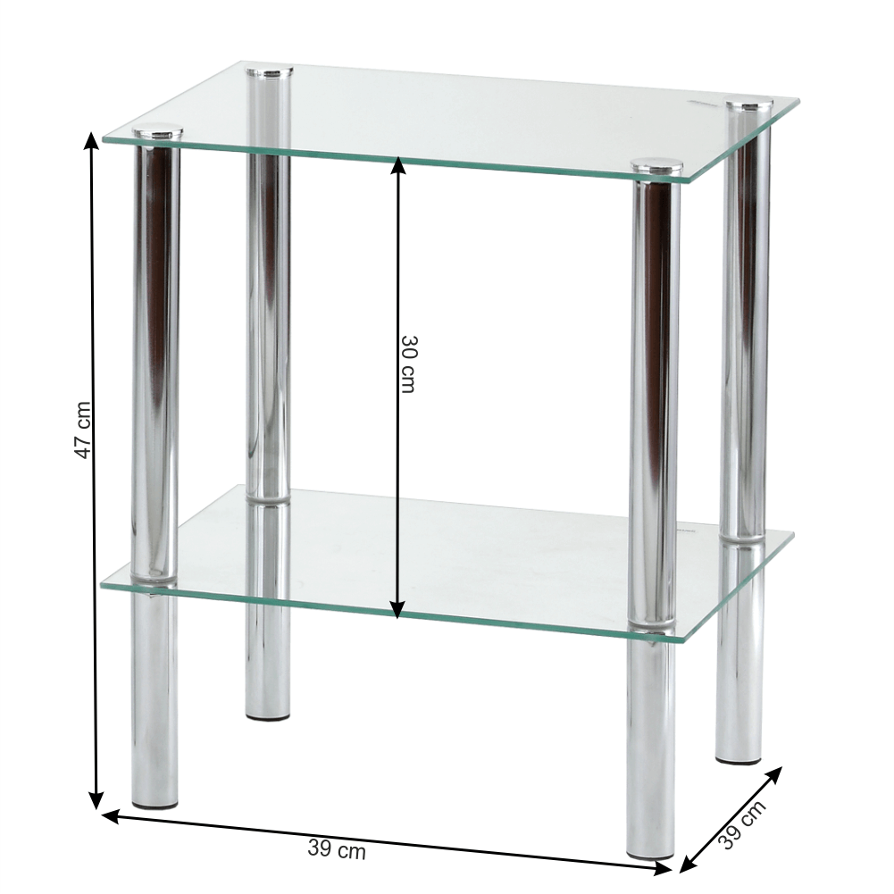 Regál, se dvěma poličkami, chrom / čiré sklo, FREDDY 1