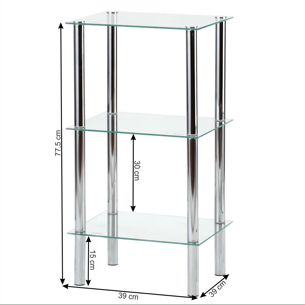 Regál, s tromi poličkami, chróm / číre sklo, FREDDY 2