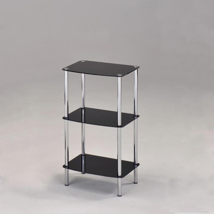 Regál, s tromi poličkami, chróm + čierne sklo, BORGIR