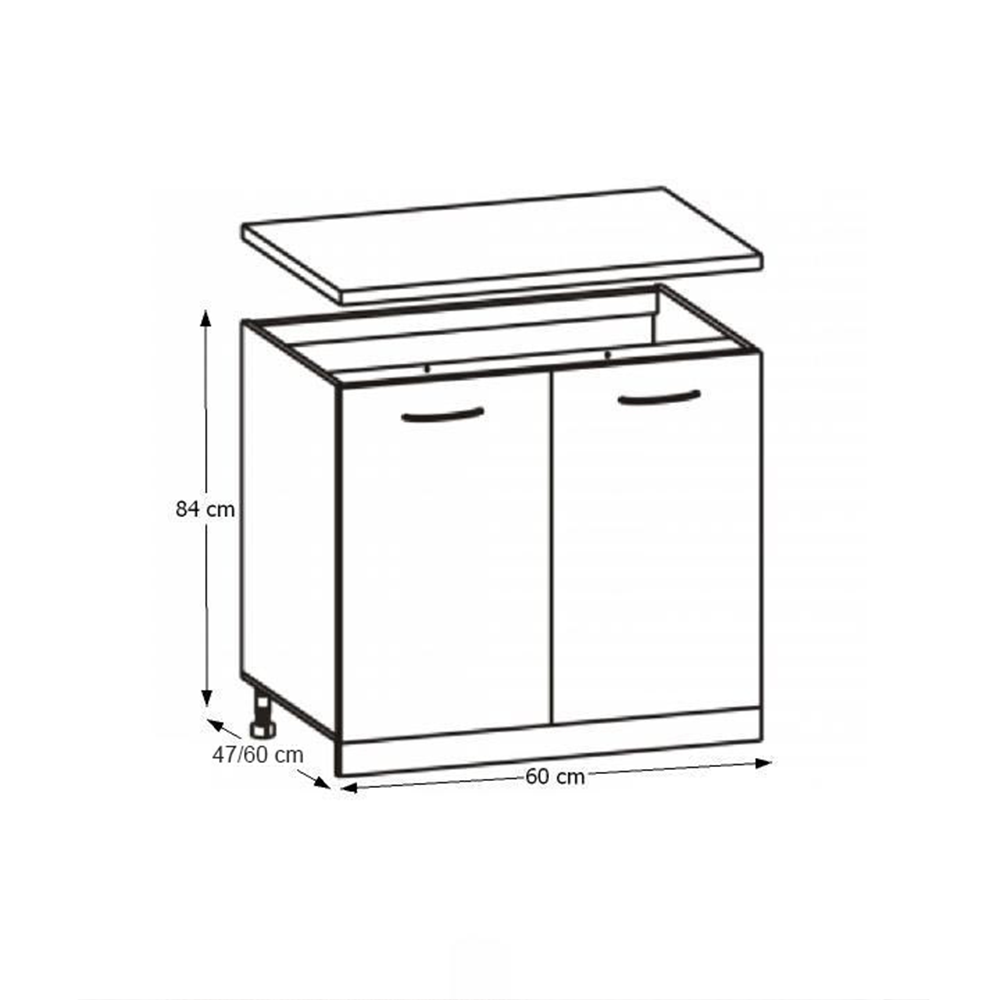Dulap de bucătărie, inferior, stejar sonoma/alb, CYRA NEW D 60