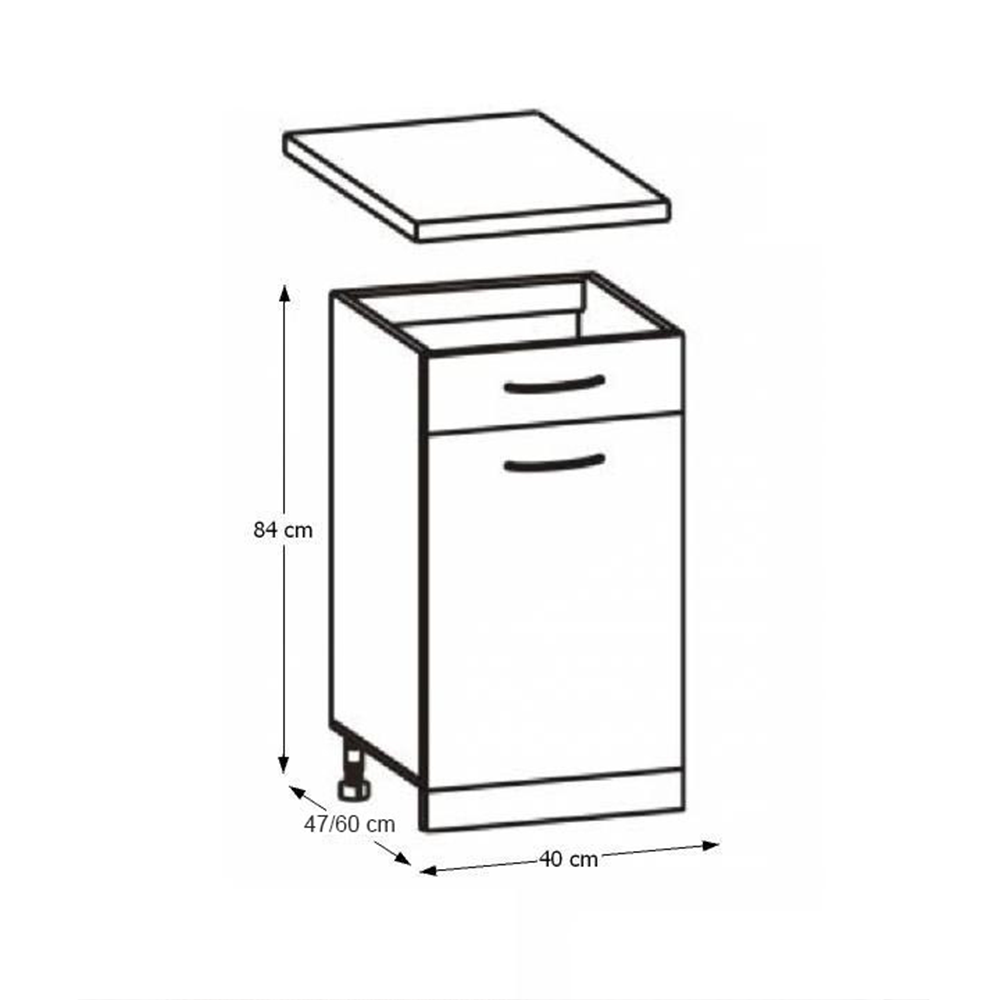 Skříňka do kuchyně, dolní, dub sonoma / bílá, Cyra NEW D1S-40