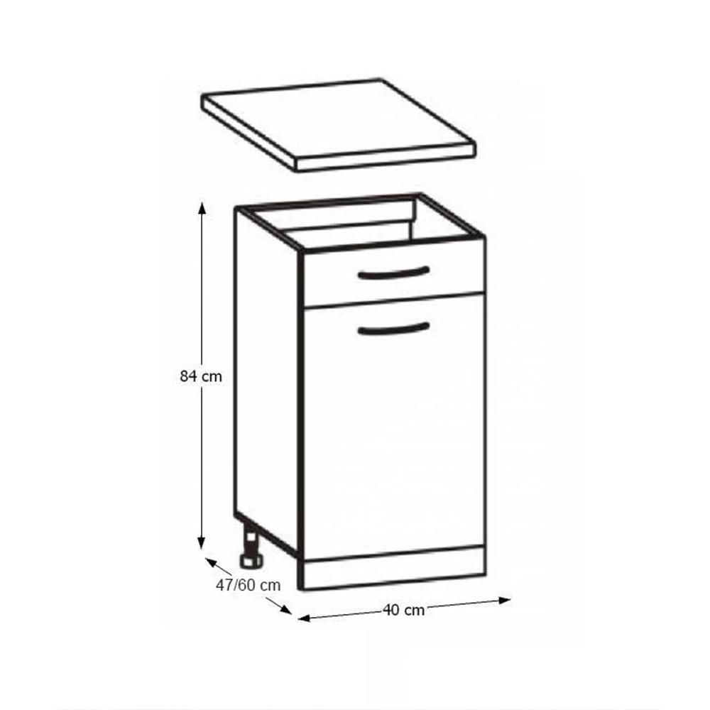 Skříňka do kuchyně, dolní, dub sonoma / bílá, Cyra NEW D1S-40, TEMPO KONDELA