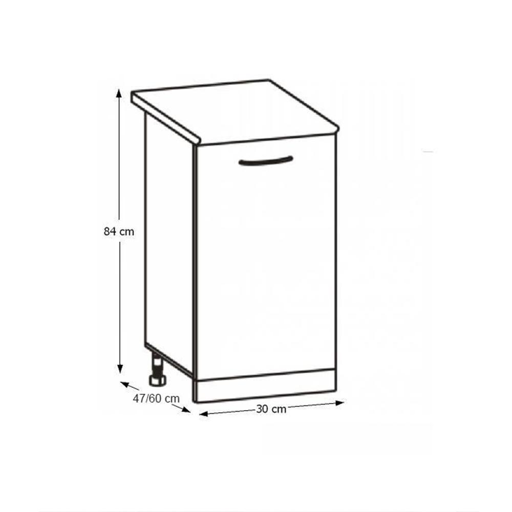 konyhaszekrény, alsó, sonoma tölgy/fehér, CYRA NEW D 30