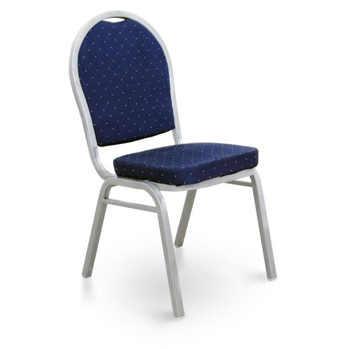Stolička, stohovateľná, látka tmavo modrá/sivý rám, JEFF NEW