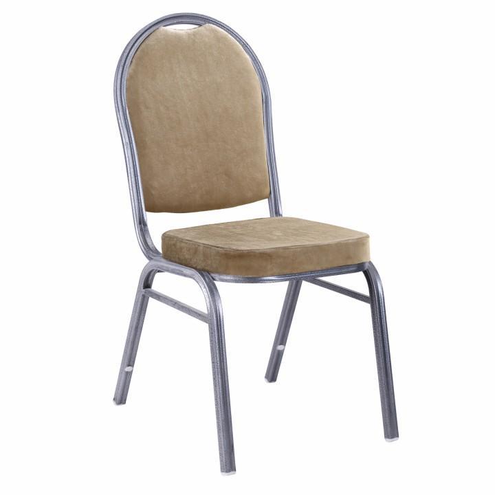 TEMPO KONDELA Stolička, stohovateľná, látka béžová/rám sivý, JEFF NEW - Tempo nábytek