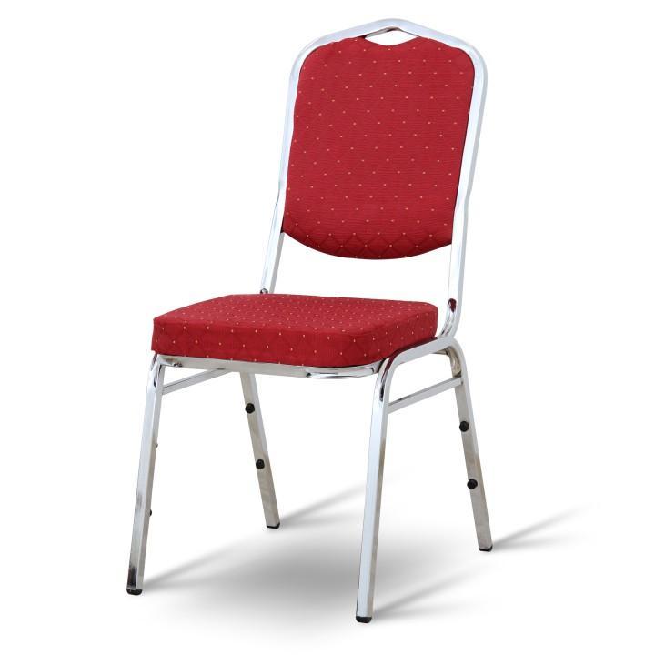 Stolička, stohovateľná, látka červená/chrómový rám, LEJLA NEW