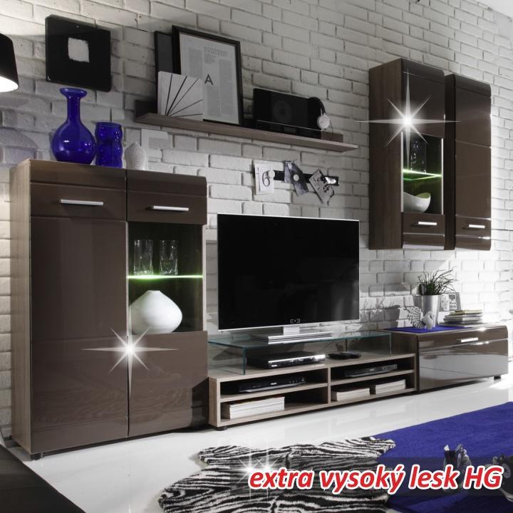 Obývacia stena, dub truflový/extra vysoký hnedý lesk HG, ZEPOS