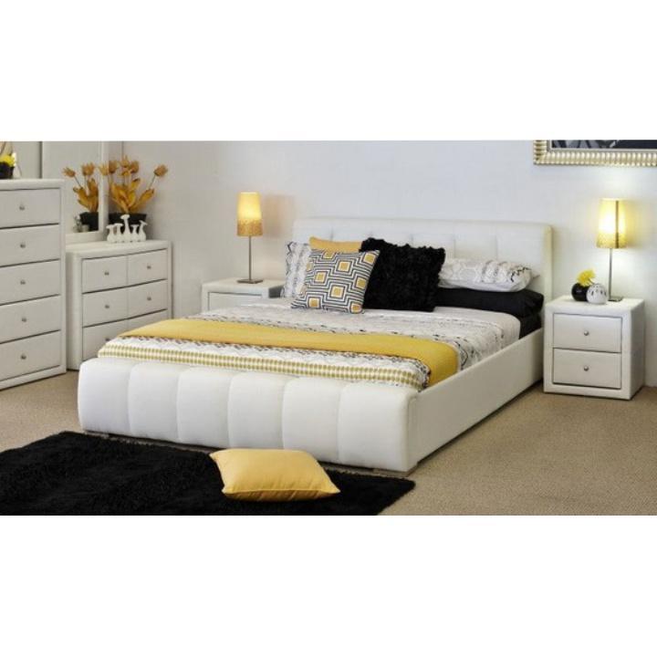 Ágy, 160x200, fehér textilbőr, FANTASY