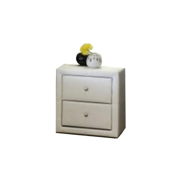Nočný stolík, dvojzásuvkový, ekokoža biela, FANTASY
