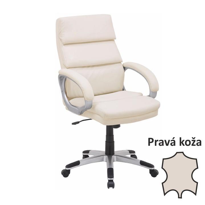 Irodai szék, bőr/textilbőr krémszínű, VEJAN