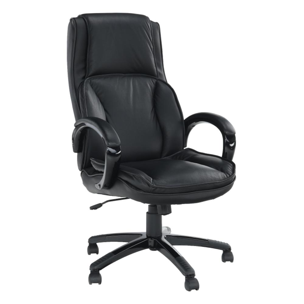 Kancelářská židle, kůže / ekokůže černá, Lumír, TEMPO KONDELA