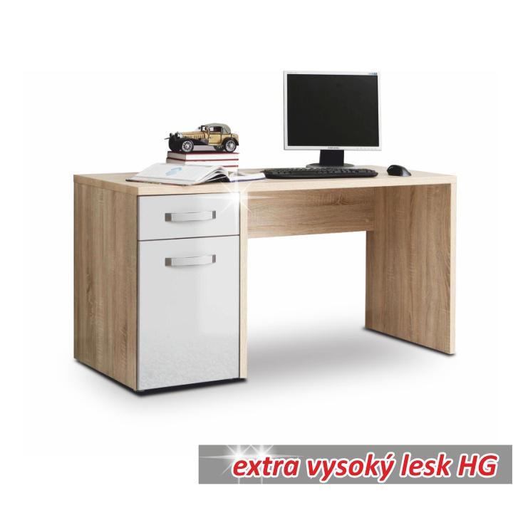 Számítógépasztal, sonoma tölgyfa/fehér magas fényű, TEODOZ