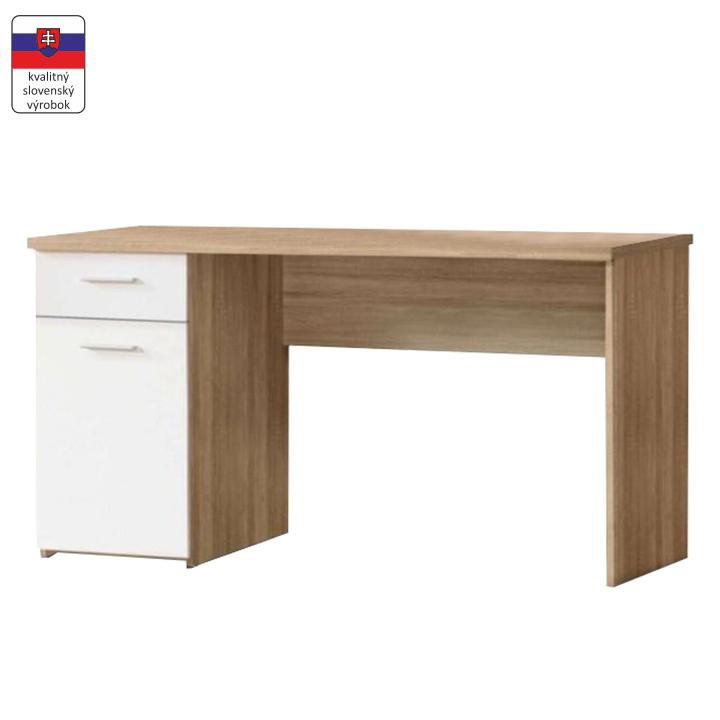 Písací stôl, dub sonoma/biely, EGON