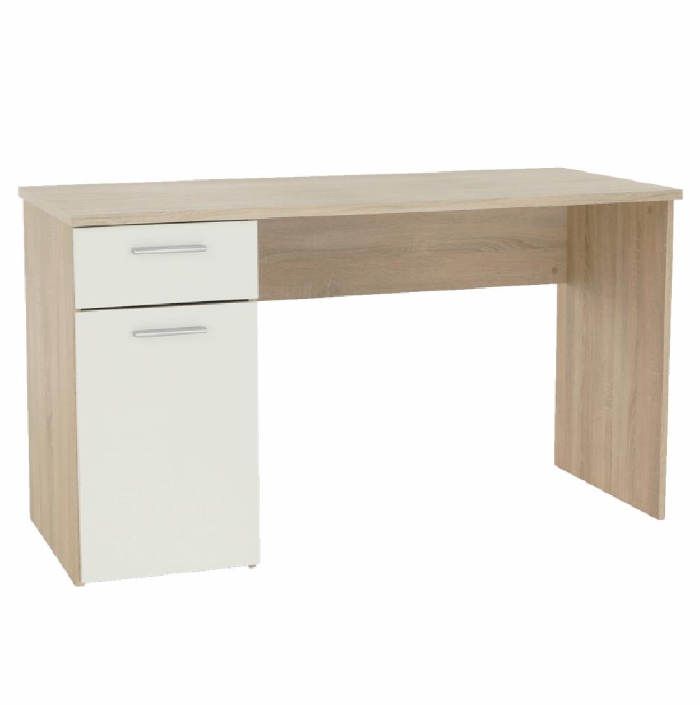 EGON - PC stůl, dub sonoma / bílý, TEMPO KONDELA