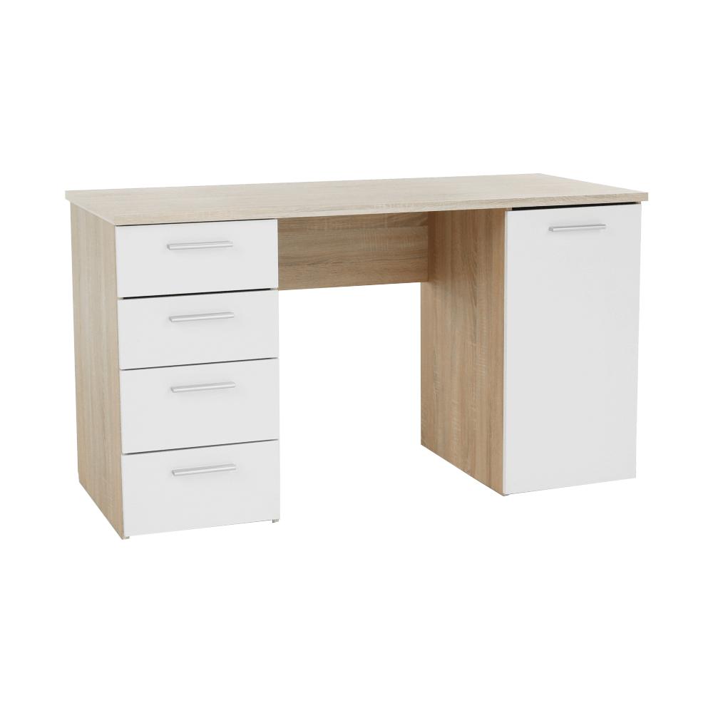 PC stůl, dub sonoma / bílá, EUSTACH, TEMPO KONDELA