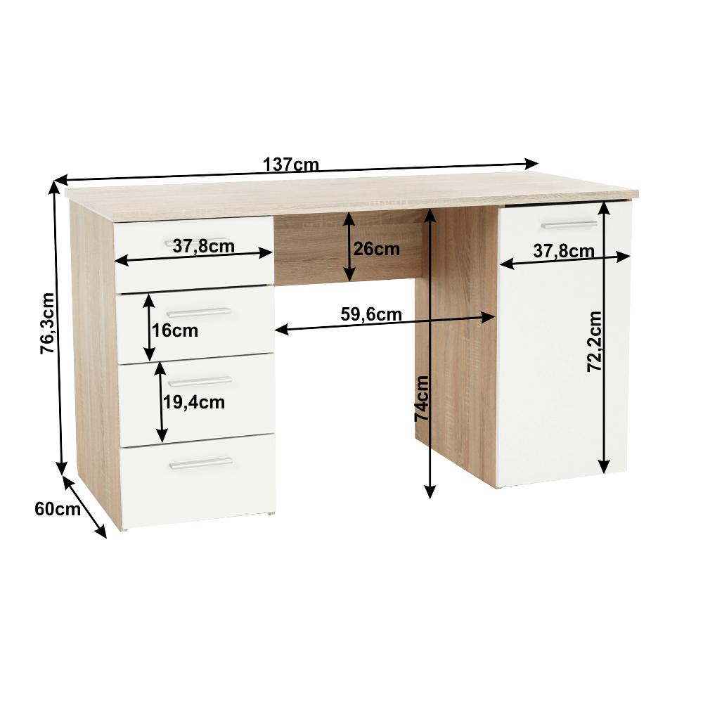 Íróasztal, sonoma tölgyfa/fehér, EUSTACH