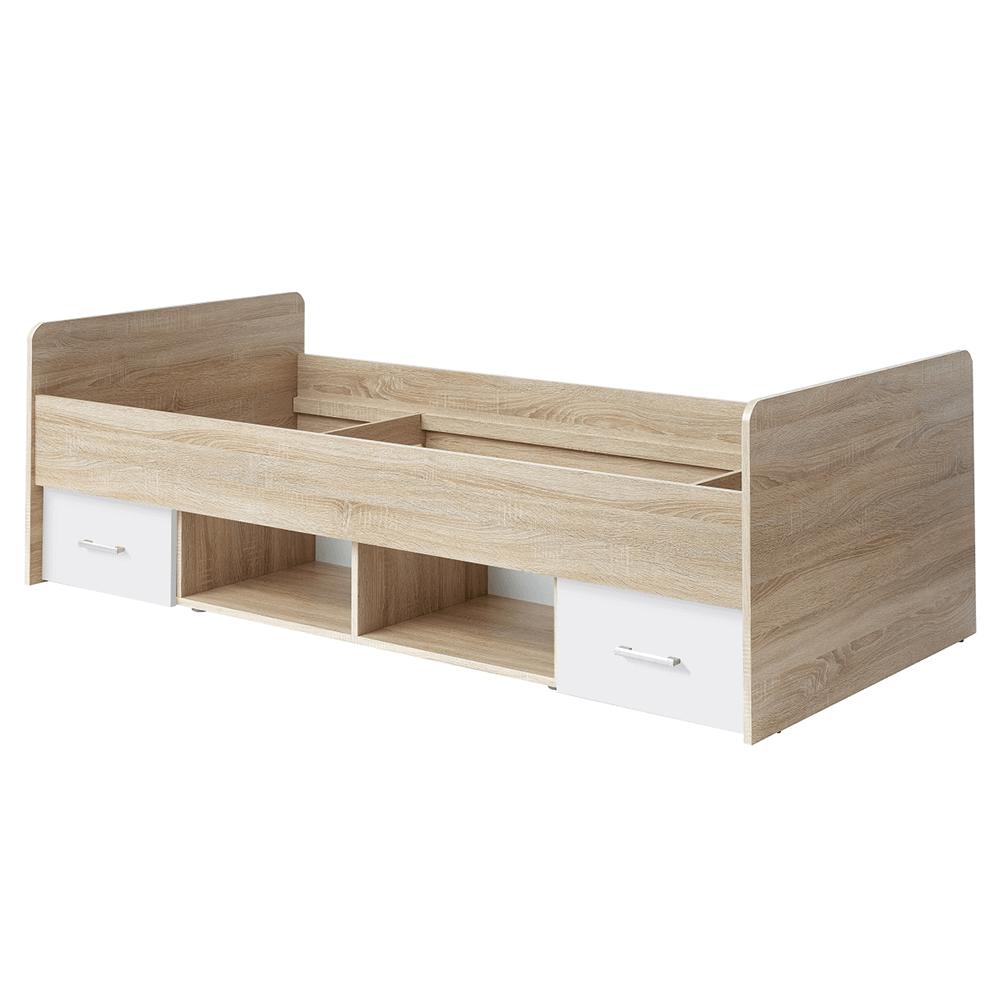 Postel, dub sonoma / bílá, 90x200, EMIO Typ 04