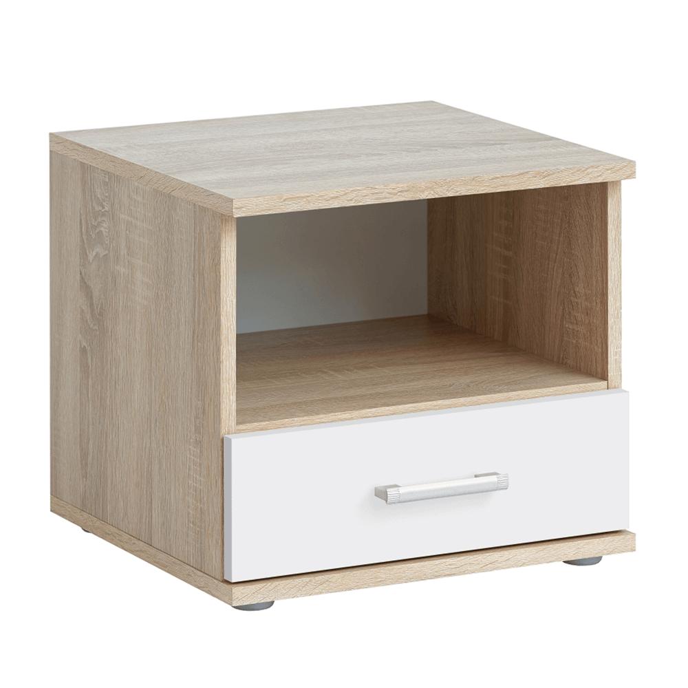 Nočný stolík, dub sonoma/biela, EMIO Typ 05